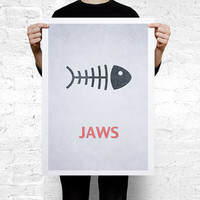 Jaws Movie minimal Poster A2 (594 x 420 mm / 23.4 x 16.5 in)