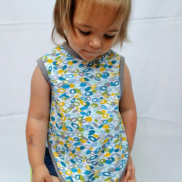 Bapron - Reversible Bib - Kids Apron - Art Smock - Double Sided Bib - Blue Bib - Baby Shower Gift - Size 6 - 18 Month or 24 Month - 3T