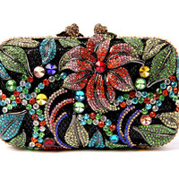Flower Beach Rhinestone Evening Clutch Luxury Hollow Cut Wedding Purse