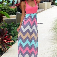 Coral Chevron Maxi Dress