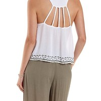 EMBROIDERED CAGE-BACK TANK TOP