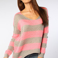 The Que Linda Sweater in Pink & Heather Gray