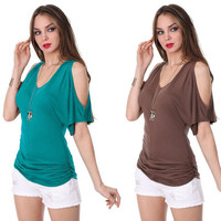 Summer Strapless Short Sleeve Tops Women's Fashion T-shirts [5024162244]