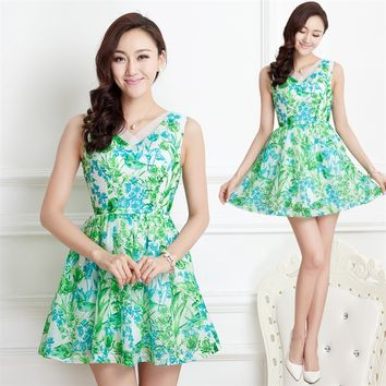 Flash Butterfly Queen 2014 Summer New Arrivals Korean Retro Printing Pleated Chiffon Sleeveless Woman's Dresses - DinoDirect.com