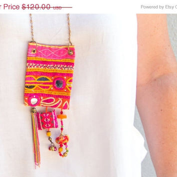 ON SALE Hot pink upcycled fabric jewelry - Boho textile necklace - Vintage Hindu textile necklace - OOAK