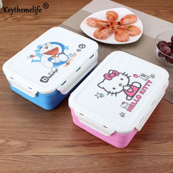 Keythemelife Hello kitty/Deraemon Lunch Boxs Portable Food Container PP+304 Stainless Steel Kids Lunchbox CF