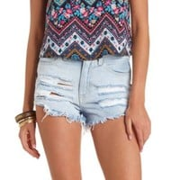 DESTROYED CUT-OFF HIGH-WAISTED DENIM SHORTS