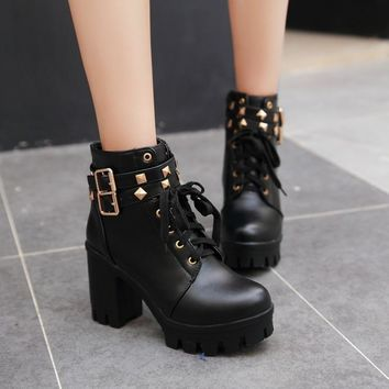 PXELENA Punk Gothic Rivet Motorycle Boots Women Vintage Square Chunky Block High Heels Ankle Boots Lady Shoes Platform Buckle