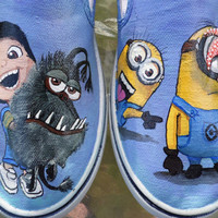 Despicable Me 2  Agnes Minions Gru's Dog Kyle Custom Painted Toms Vans Shoes
