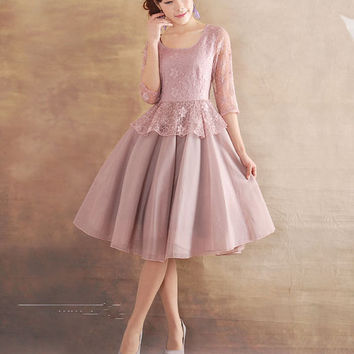 Violet dress Tulle dress wedding dress party dress Chiffon dress women dress fashion dress Long sleeve dress---WD047