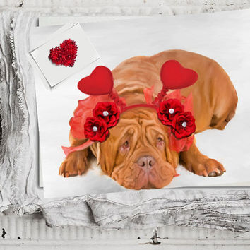 Dogue de Bordeaux Art Decor,  Dog Wall Art Print, Unique Gift, Colorful Painting, Fun Dog Poste, Animal Artwork, Heart Ears dog poster