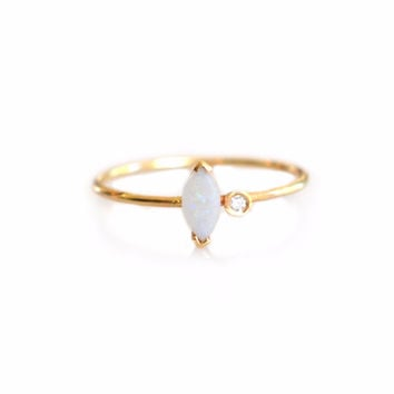 14kt Gold Opal and Diamond Marquise Ring