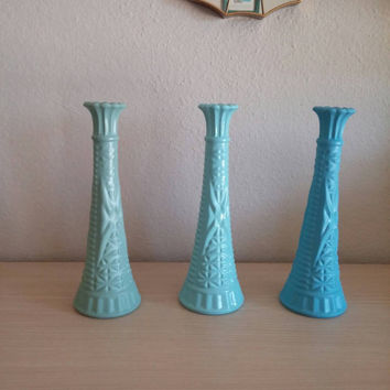 Painted Ombre Vintage Milk Glass Vases - Teal, Aqua, & Blue