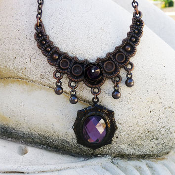 Purple Jewel Gothic Style Necklace by lunarbelle on Etsy