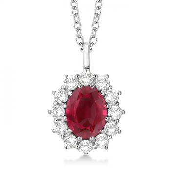 14k White Gold Oval Ruby and Diamond Pendant Necklace 3.60ctw