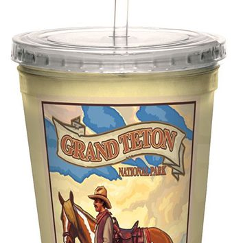 Tree-Free Greetings cc33155 Vintage Grand Teton Wyoming Cowboy by Paul A. Lanquist Artful Traveler Double-Walled Cool Cup with Straw, 16-Ounce