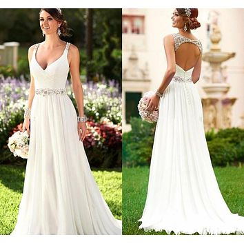 Vestidos De Novia Sexy Beach Wedding Dress Boho Cheap White Iovry Wedding Dress 2016 Robe De Mariage Bridal Gowns