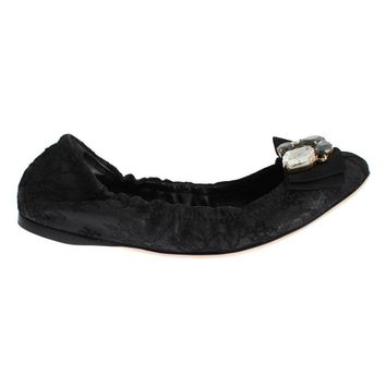 Dolce & Gabbana Black Taormina Lace Crystal Ballet Flat Shoes