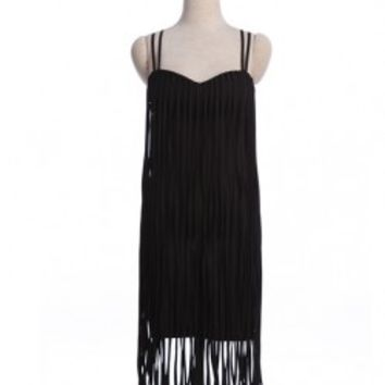 Pure Color Cami Dress With Long Tassels