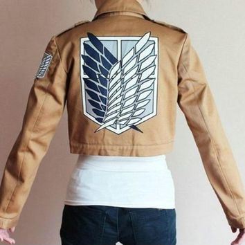 Cool Attack on Titan  no  Scouting Legion Cosplay Jacket Coat Embroidery Logo Eren Levi Mikasa Jackets Costumes AT_90_11