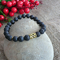 Mens Bracelet Yoga bracelet Gemstone Black Bracelet Men Jewelery Stone Bracelet Mens gift Bracelet for men