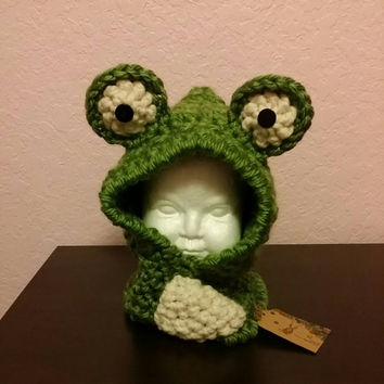 Free Shipping Crochet Frog Hood Cowl Made to Order