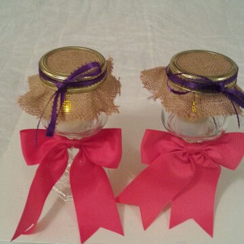 Burlap pink purple wedding candle jar / center piece set. Any color to match your wedding