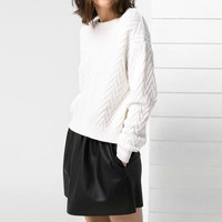White Wave Pattern Knitted Pullover Sweater