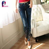 2016 New style Plus Size Stretch jeans Women  Embroidered Denim Pants Big Size Blue  jean slim Embroidered Flares