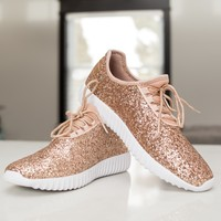 Get Your Glitz On Tennis Shoes - Rose Gold