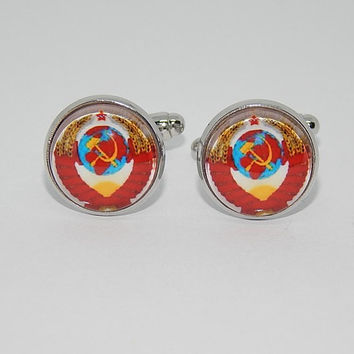 State simbol of the Soviet union cufflinks, simbol USSR cufflinks, Coat of arms Soviet Union, socialist heraldry, communism simbol emblem