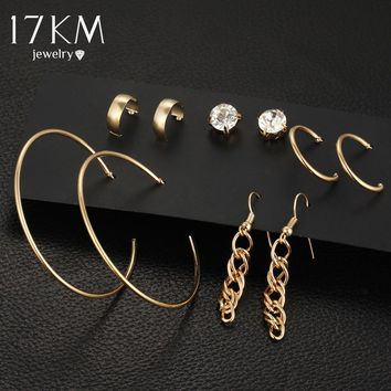 17KM Punk Tassel Earrings For Women 5 Pairs/Set Crystal Alloy Stud Earrings Men Vintage boho Koyle Brincos Statement Earring Set