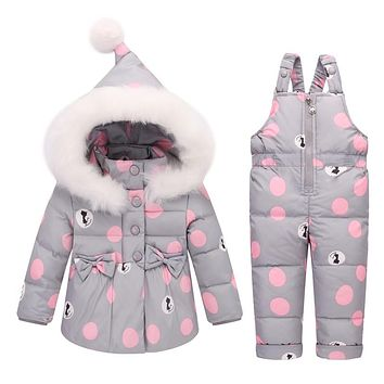Winter Kids Clothing Sets Warm Duck Down Jackets Snowsuit Baby Girls Down Fur Hooded Coats Overalls Pant Sets