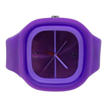 Purple Jelly Band Watch Square Face