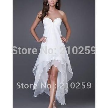elegant romantic cocktail  dresses with sweetheart high low  white chiffon pageant dress for prom party vestidos de formatura