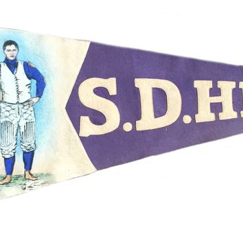Antique Pennant Vintage San Diego S.D. High Football Player Hand Painted