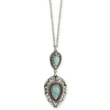 Silver & Turquoise Teardrop Pendant Necklace