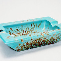 Murano Aventurine Scarce Turquoise Blue Modern Glass Ashtray w Gold Infusion Salviati Weil Venini Studio Art Marked Italy