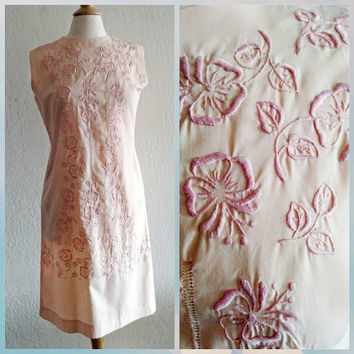 Vintage | Pink | Embroidered | Shift dress | 1960s | Knee length dress | Size Large | Philippines | Manila Hotel | Pink Wedding | 36 in bust