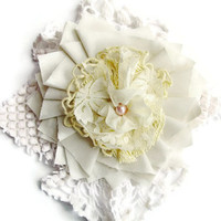 Boho shabby chic Ivory Cream cotton, lacy, doily, flower hair piece/pin, floral home decor