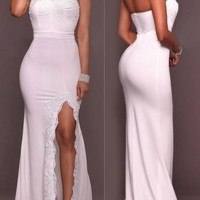 White Lace Pleated Off Shoulder Side Slit Backless Elegant Prom Banquet Party Maxi Dress