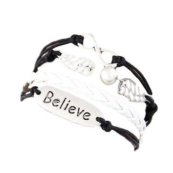 """Multi Black/White """"Believe, Infinity, Angel Wings"""" 5 Layer Charms Wrap Bracelet Faux Brown Leather/Suede"""