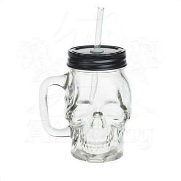 Alchemy Gothic Clear Skull Glass Drinking Mason Jar w/ Straw - One 1