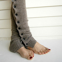 Knit Leg Warmers Boot Cuffs Socks Button Down Lace Trim- Camel
