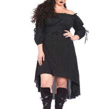 DCCKLP2 Gauze high low peasant dress with tie up waist and sleeves in BLACK