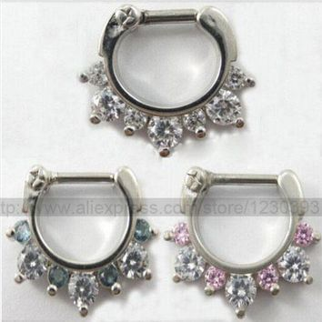 ac PEAPO2Q Hot Unique 316L Surgical Steel Aztec Septum Clicker Nose Ring Stud Nose Piercing Stud White and Pink or White and Blue