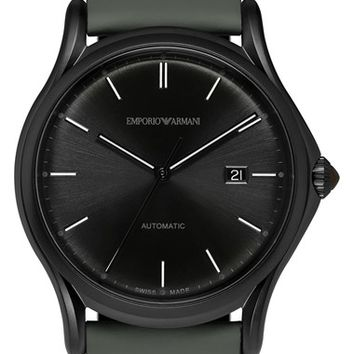 Men's Emporio Armani Swiss Made Automatic Leather Strap Watch, 42mm