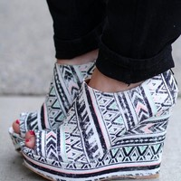 Don't Aztec With Me Peep Toe Wedges