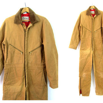 Vintage Overalls Walls Blizzard Pruf Insulated Jumpsuit Tan Canvas coveralls one piece car Mechanics Suit Workwear Work Pants Jumper Medium