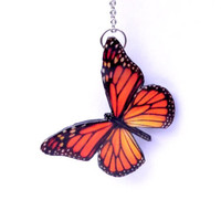 Monarch Butterfly necklace-Colorful orange butterfly necklace-Free Shipping Worldwide-Butterfly jewelry-Wing necklace